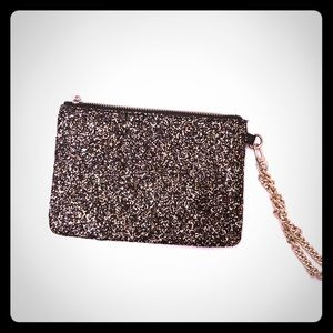 Sparkly Express wristlet with chain and inside zip